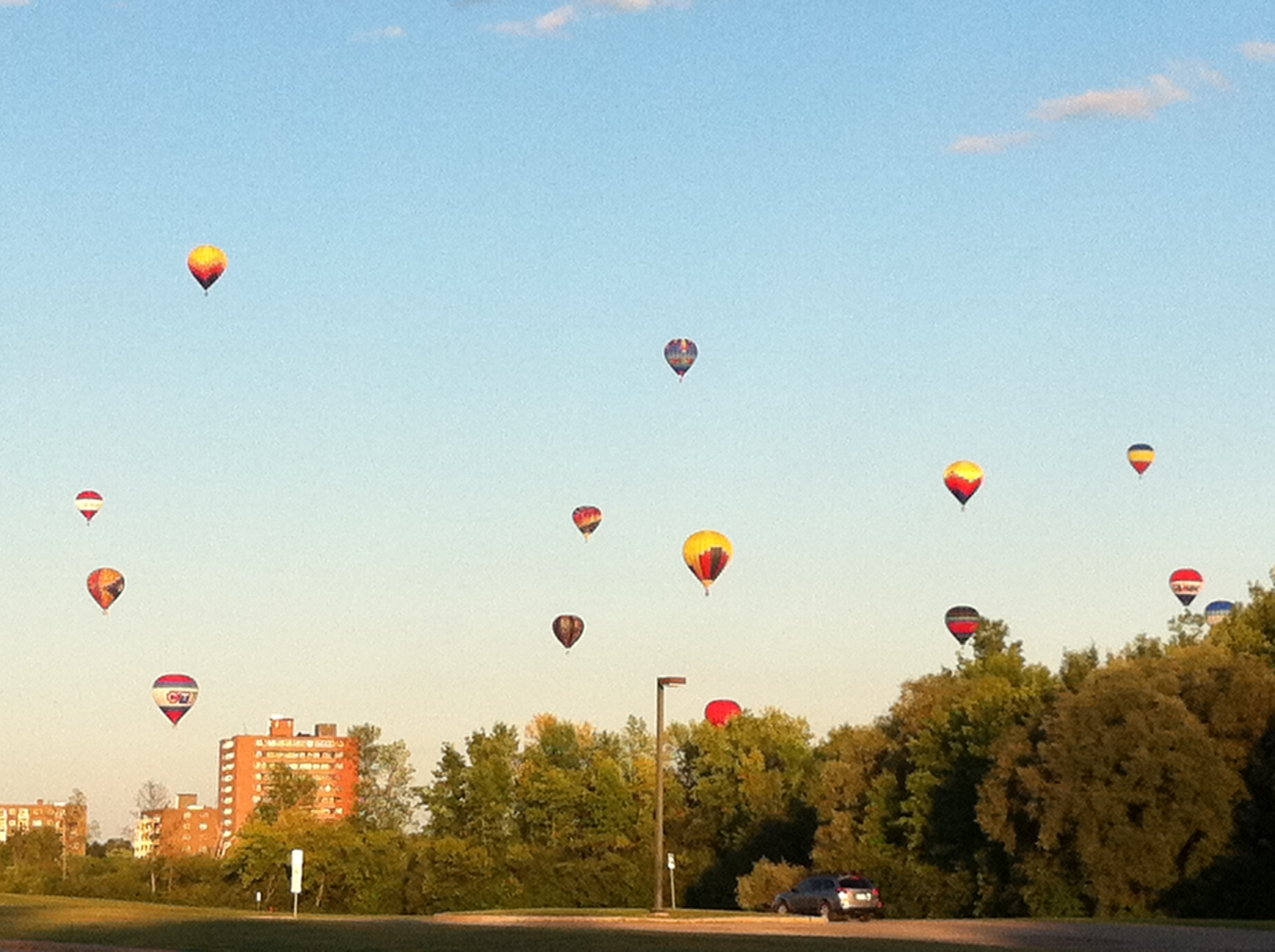 baloons over the Asticou centre fields
