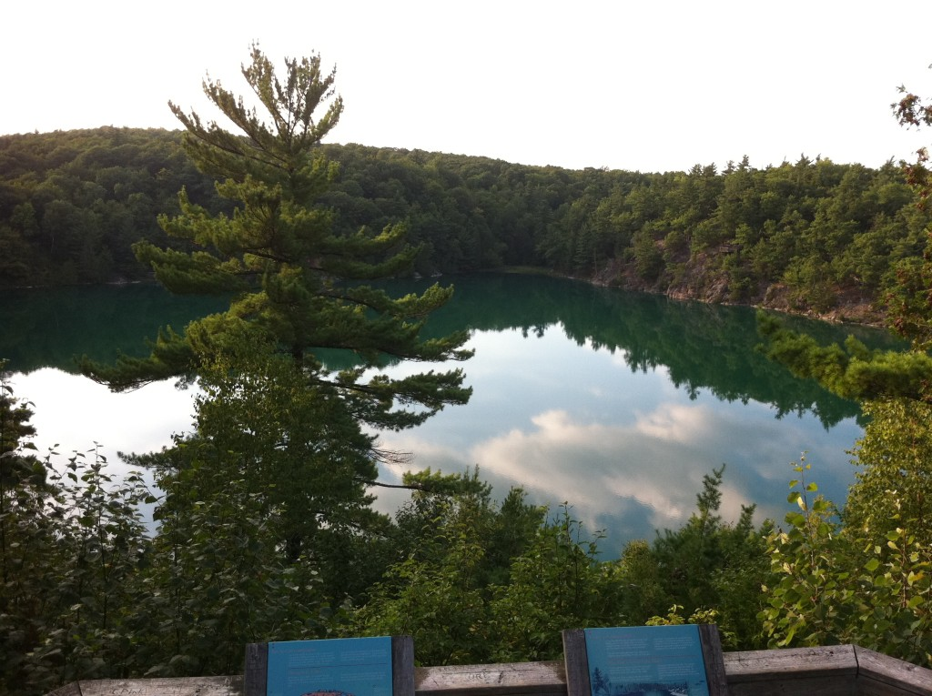Lookout platform over Pink Lake, Gatineau Park. My own photo, August 2012.