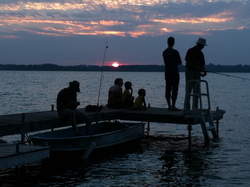 The 'small picture' of civilization: members of my family, fishing from the dock. September 2015.