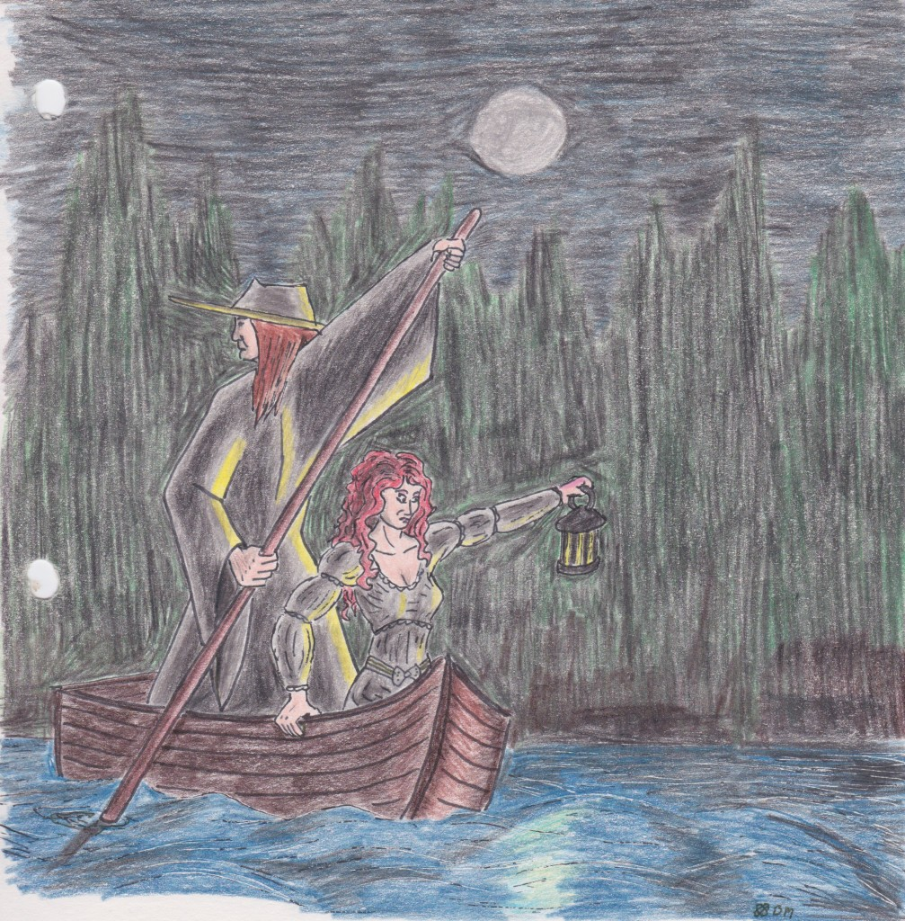 Two of my old D&D characters, punting on a creepy river